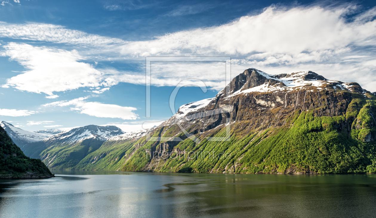 fjord panorama als leinwand von nordbilder erh ltlich. Black Bedroom Furniture Sets. Home Design Ideas