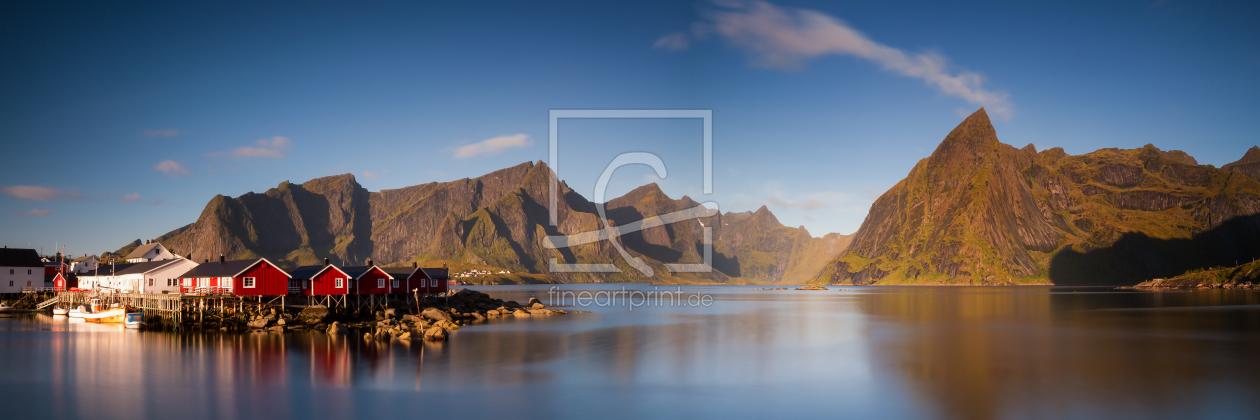spiegelung eines fjords auf den lofoten als leinwand v. Black Bedroom Furniture Sets. Home Design Ideas