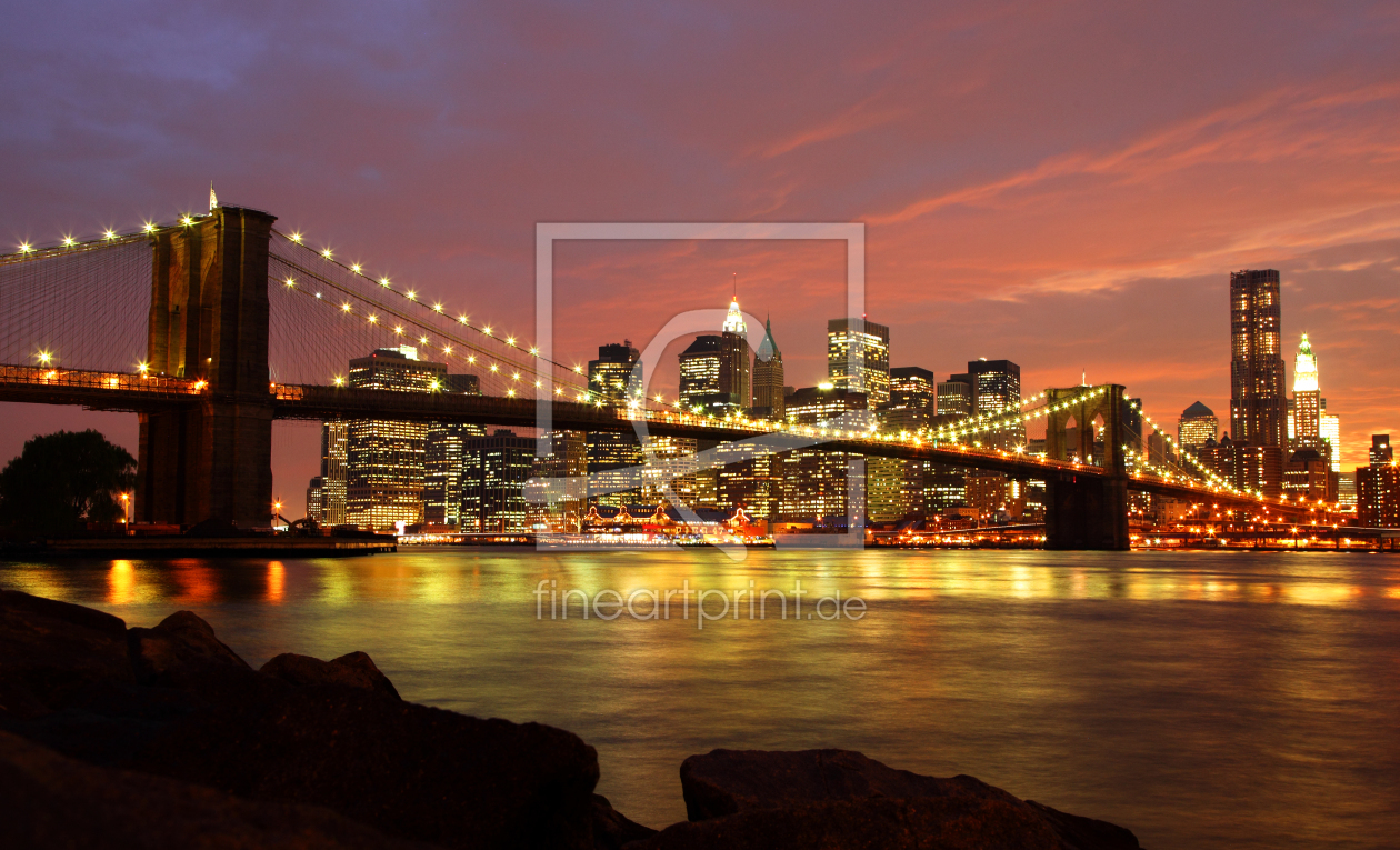 brooklyn bridge mit skyline bei nacht als leinwand von. Black Bedroom Furniture Sets. Home Design Ideas