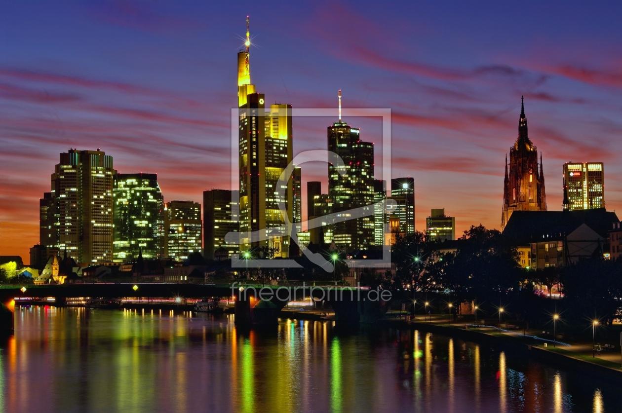 frankfurt skyline zur blauen stunde als leinwand von i. Black Bedroom Furniture Sets. Home Design Ideas