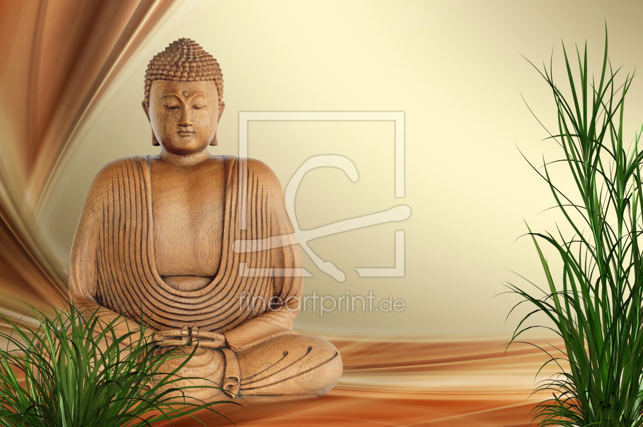 buddha als leinwand von susann mielke erh ltlich bei f. Black Bedroom Furniture Sets. Home Design Ideas