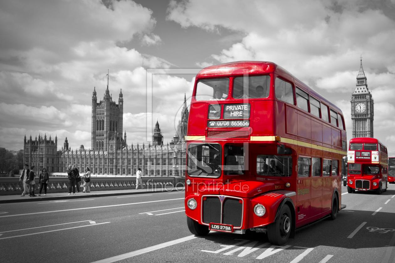 london red buses on westminster bridge als leinwa. Black Bedroom Furniture Sets. Home Design Ideas