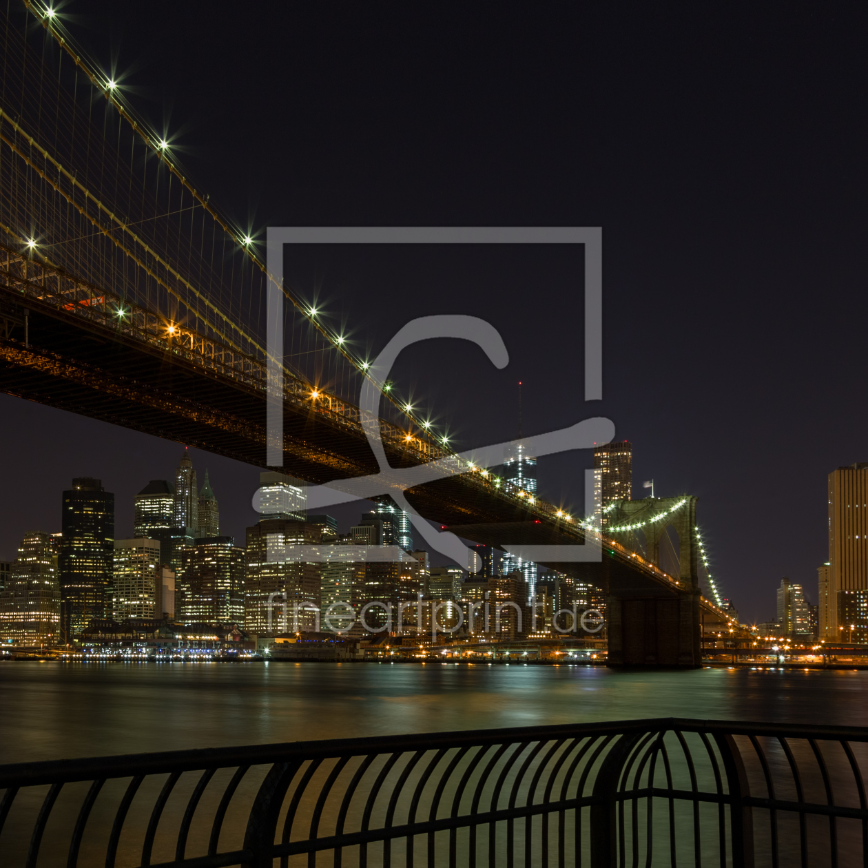 brooklyn bridge at night 1 1 als leinwand von tomkli er. Black Bedroom Furniture Sets. Home Design Ideas