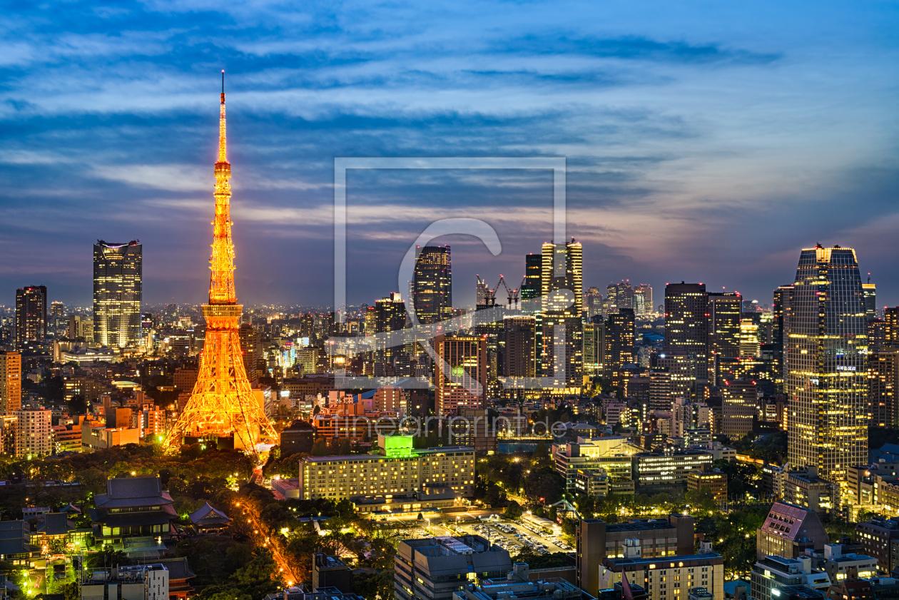 Skyline von Tokio als Leinwand von Mapics erhältlich bei