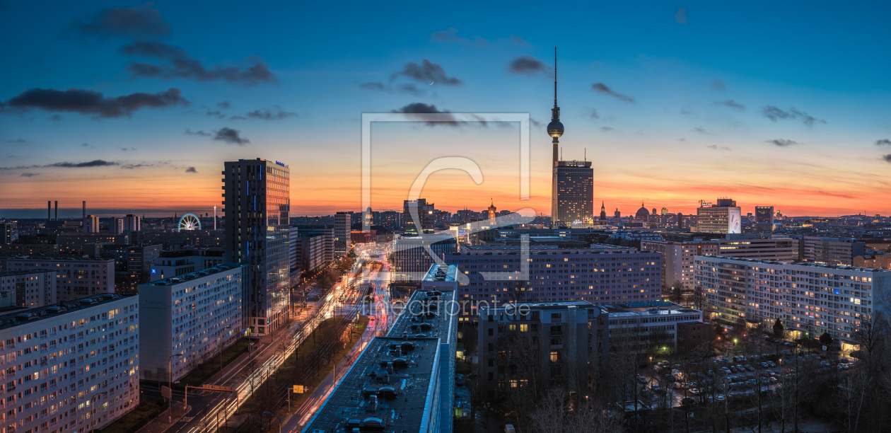 berlin skyline im winter als leinwand von jean claud. Black Bedroom Furniture Sets. Home Design Ideas