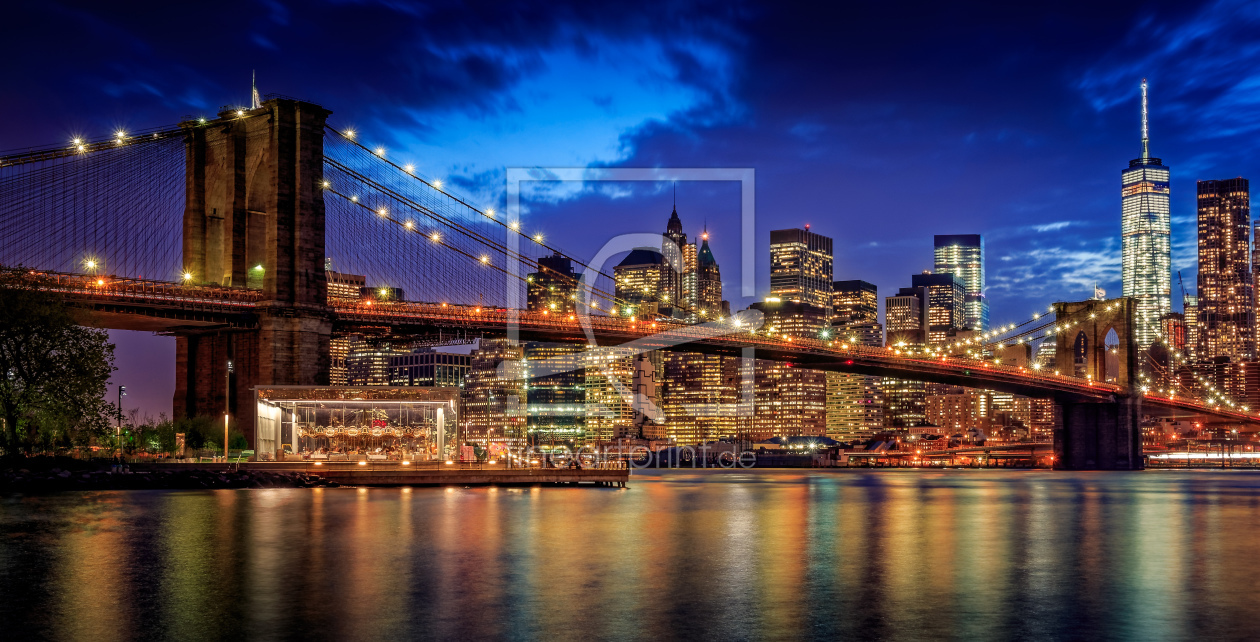 brooklyn bridge at night pano als leinwand von thoma. Black Bedroom Furniture Sets. Home Design Ideas