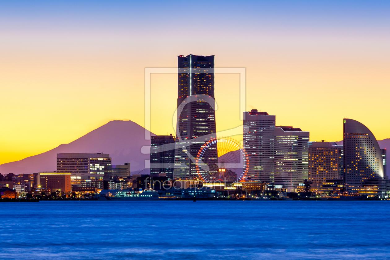 yokohama skyline japan als leinwand von eyetronic er. Black Bedroom Furniture Sets. Home Design Ideas