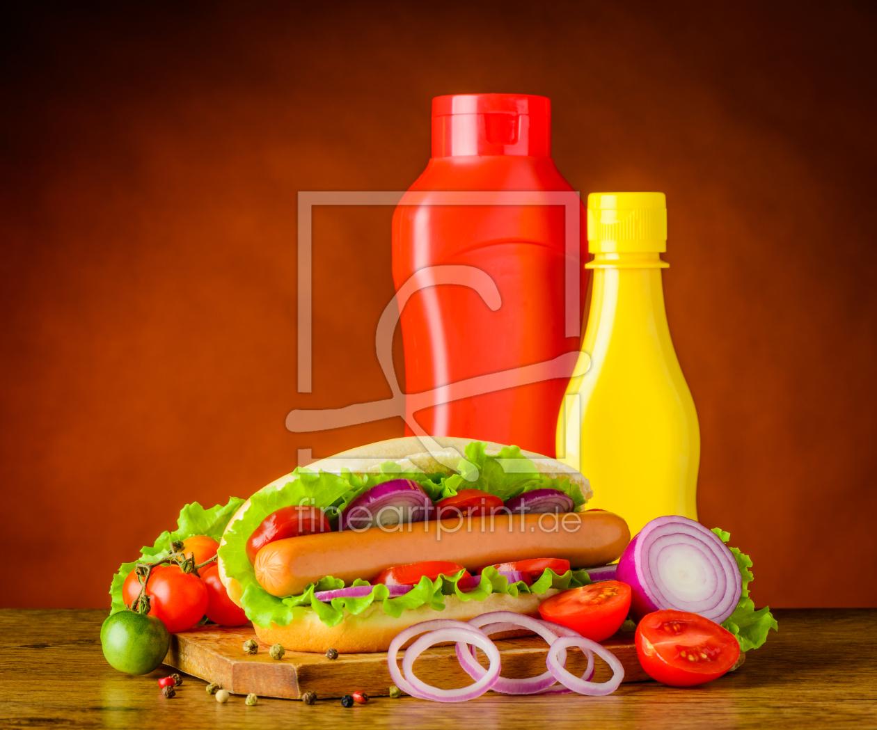 hot dog mit ketchup und senf als tragetasche von xfoto. Black Bedroom Furniture Sets. Home Design Ideas