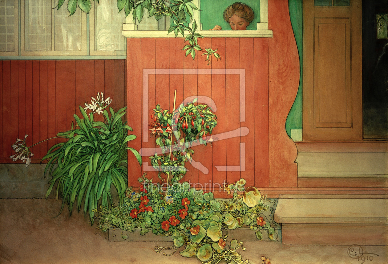carl larsson suzanne auf der veranda als leinwand v. Black Bedroom Furniture Sets. Home Design Ideas