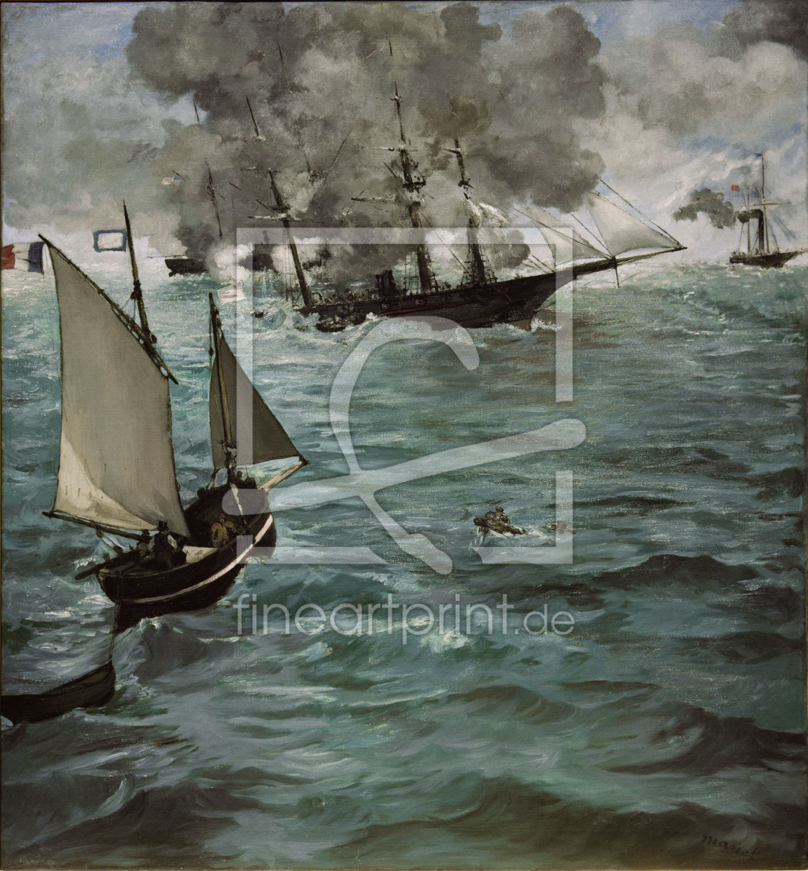 Bild-Nr.: 30004446 Manet / Battle of Kearsarge and Alabama erstellt von Manet, Edouard