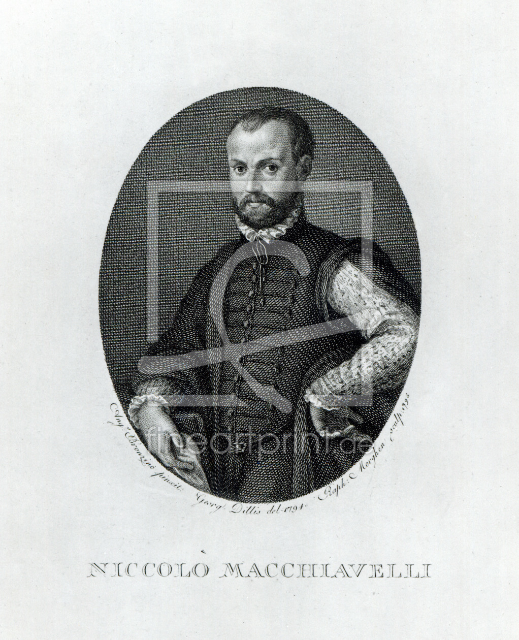 Bild-Nr.: 31000128 Portrait of Niccolo Machiavelli , engraved by Rafaello Morgan in 1795 erstellt von Bronzino, Agnolo