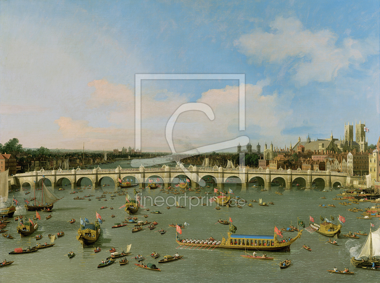 Bild-Nr.: 31000174 Westminster Bridge, London, With the Lord Mayor's Procession on the Thames erstellt von Canal, Giovanni Antonio & Bellotto, Bernardo