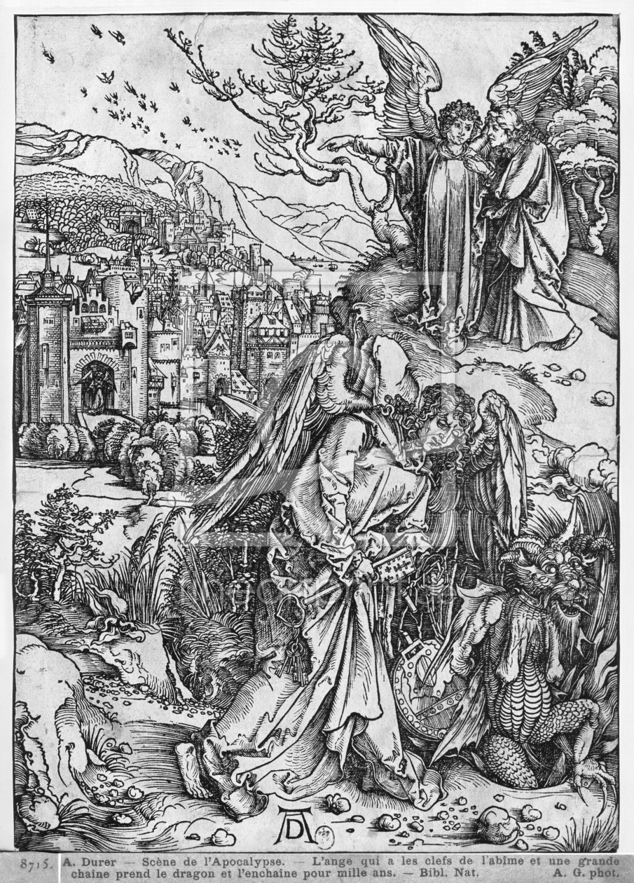 Bild-Nr.: 31000375 Scene from the Apocalypse, The angel holding the keys of the abyss and a big cha erstellt von Dürer, Albrecht