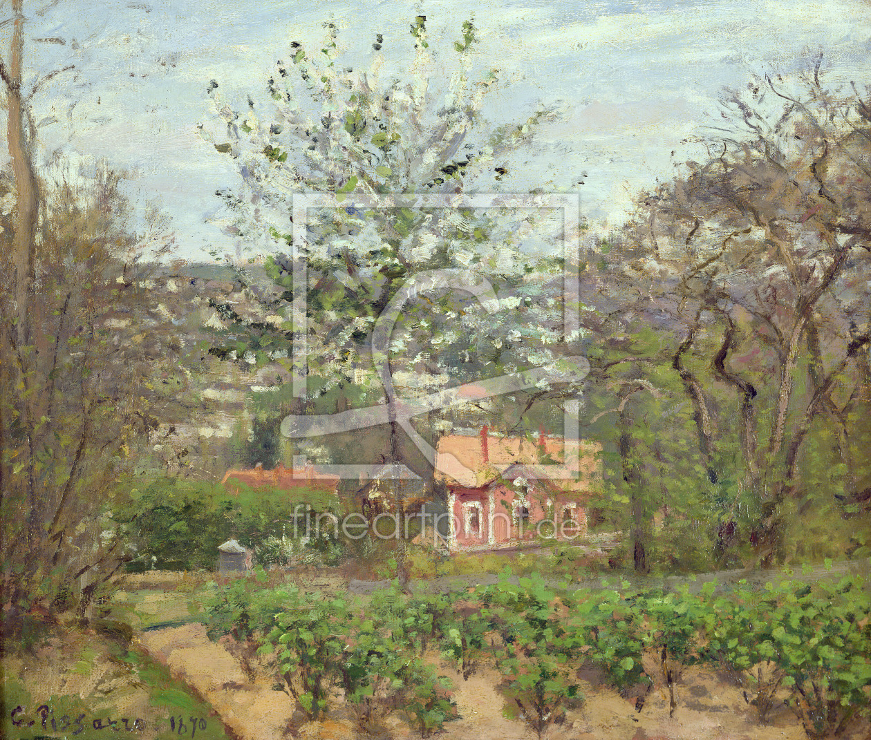 Bild-Nr.: 31000977 The Cottage, or the Pink House - Hamlet of the Flying Heart, 1870 erstellt von Pissarro, Camille