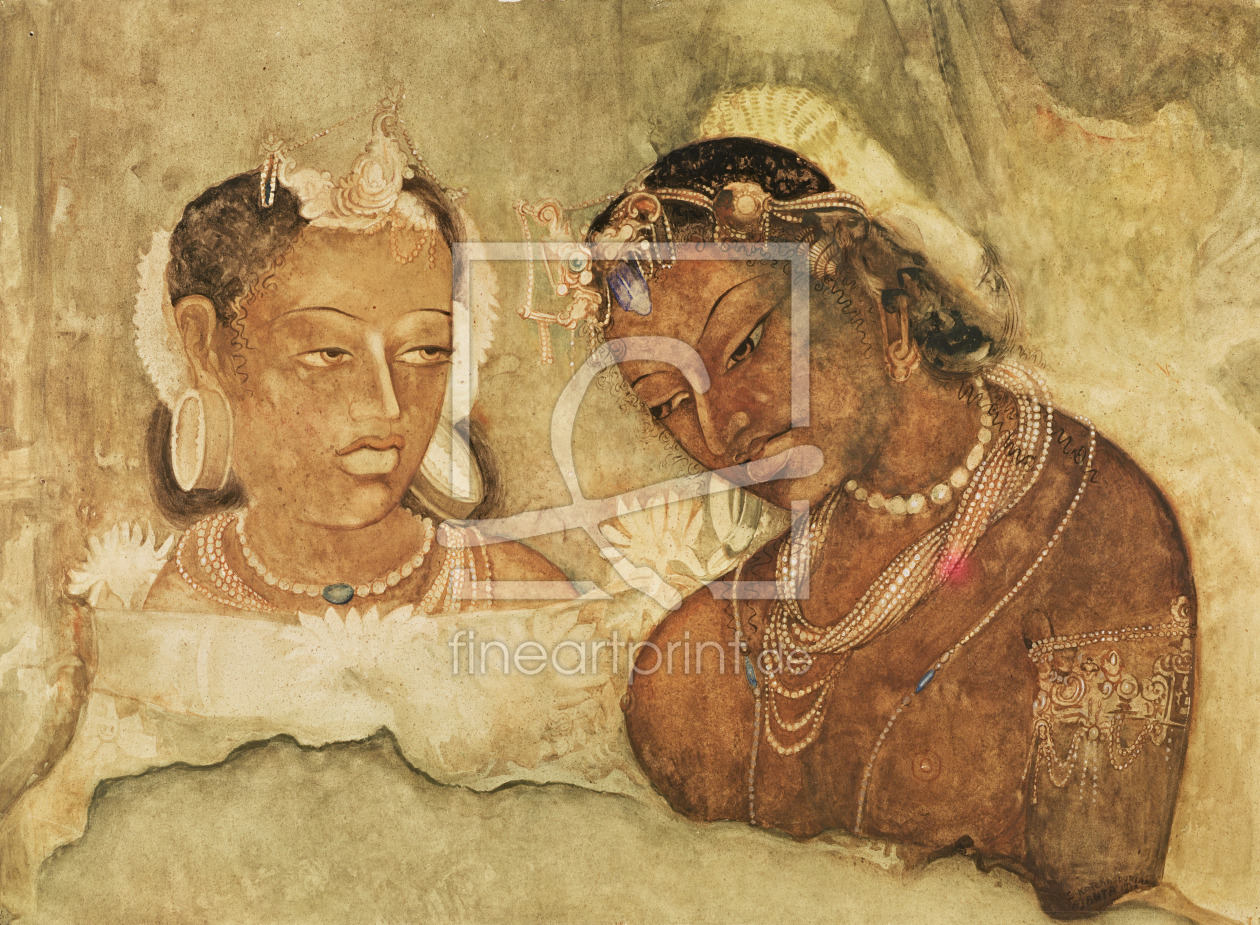 Bild-Nr.: 31001781 A Princess and her Servant, copy of a fresco from the Ajanta Caves, India erstellt von Anonyme Künstler