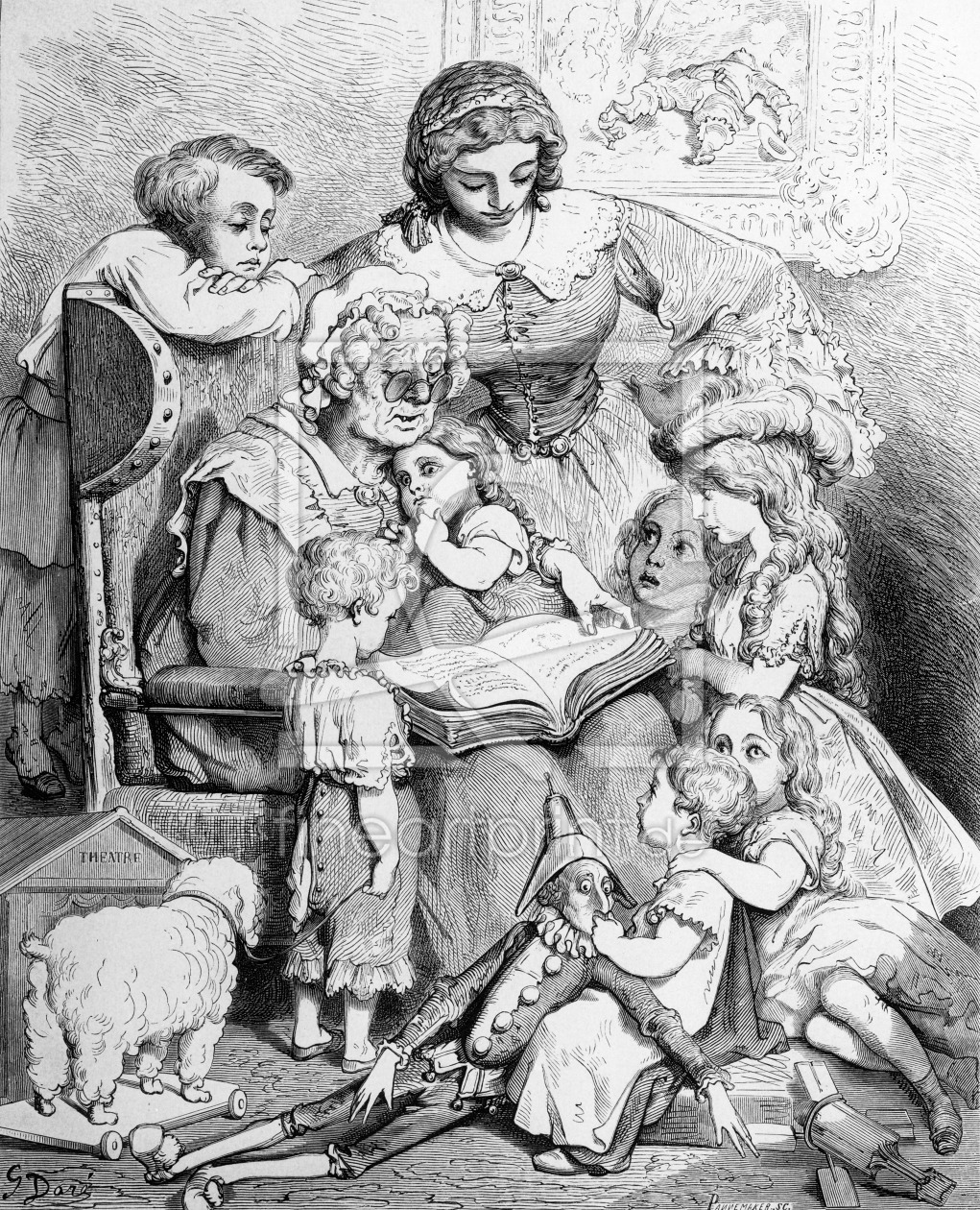 Bild-Nr.: 31002089 Grandmother telling a story to her grandchildren, illustrated title page from 'L erstellt von Dore, Gustave