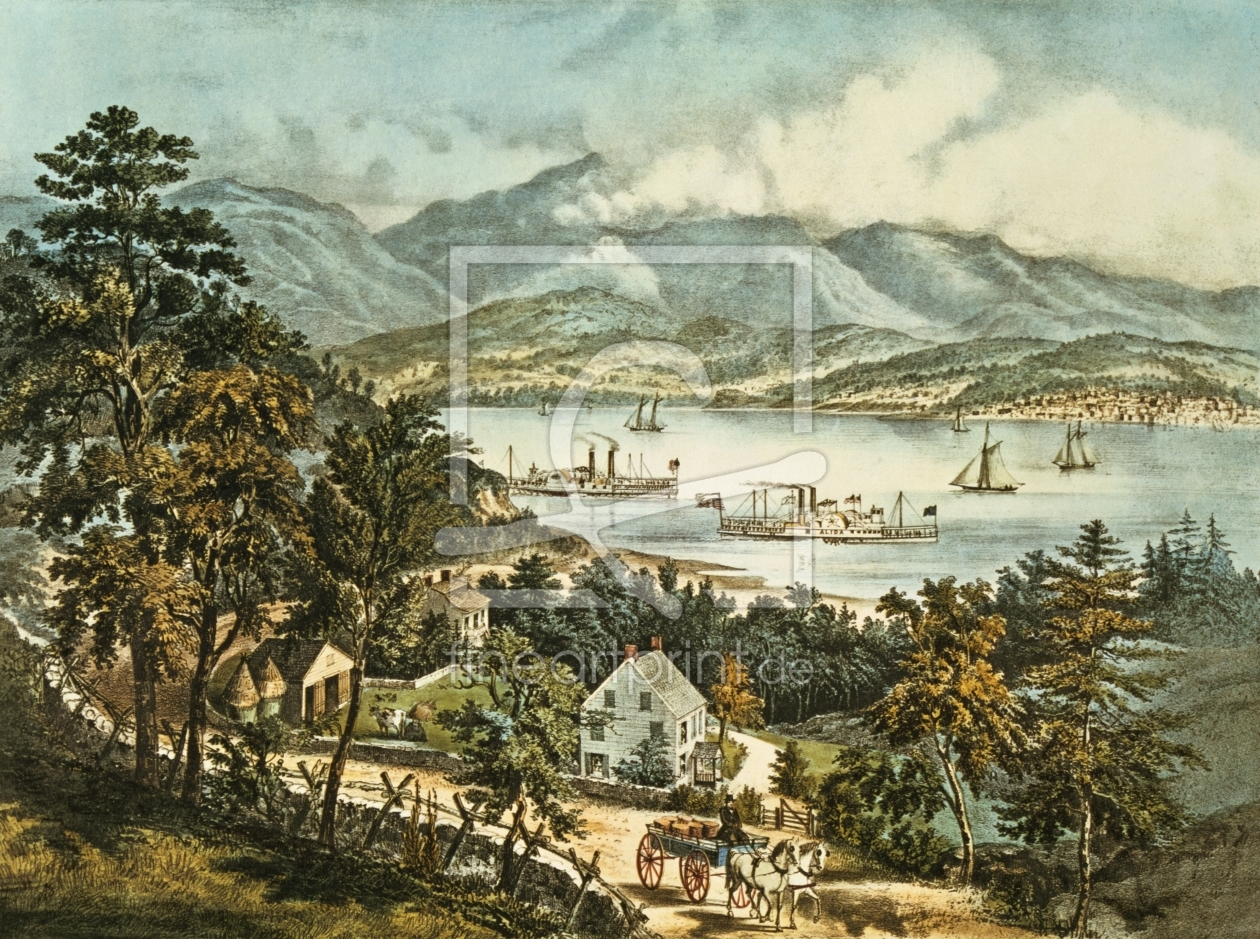 Bild-Nr.: 31002445 The Catskill Mountains from the Eastern shore of the Hudson erstellt von Currier, Nathaniel and Ives, J.M.