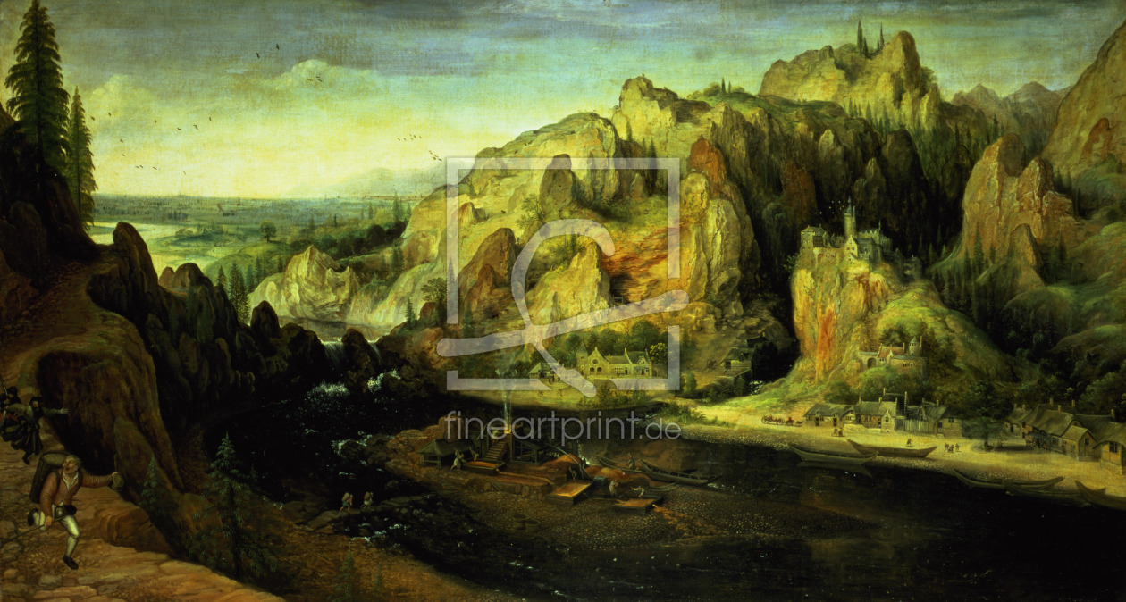 Bild-Nr.: 31002462 Mountain Landscape with a surprise attack, c.1585 erstellt von Valckenborch, Lucas van