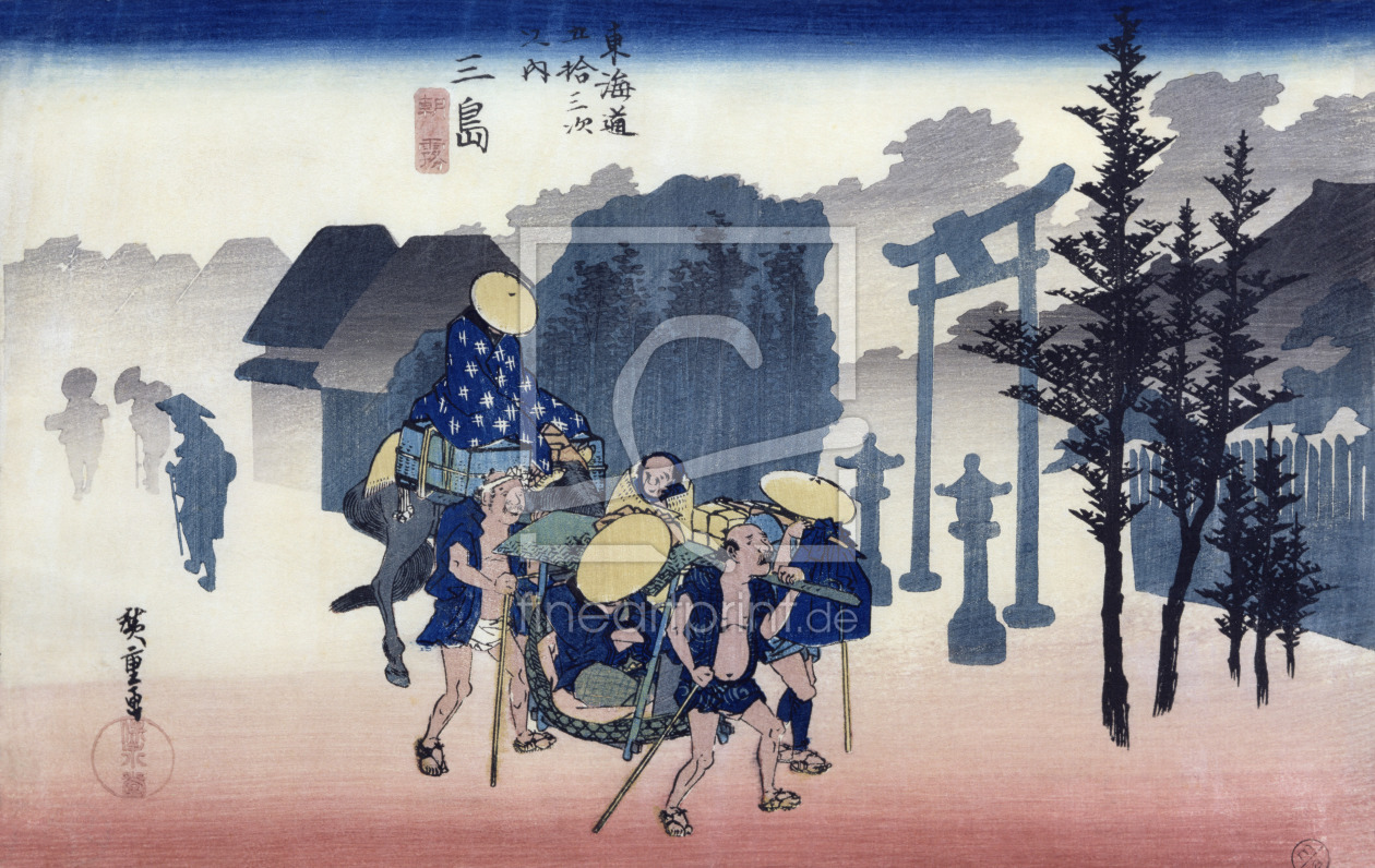 Bild-Nr.: 31002615 Morning Mist at Mishima, from the series '53 Stations of the Tokaido', 1834-35 erstellt von Hiroshige, Ando