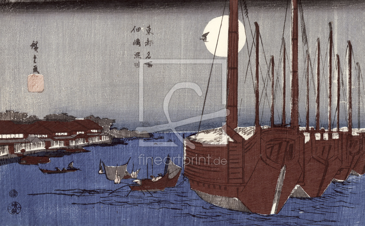 Bild-Nr.: 31002617 Tsukudajima island and the Fukagawa district under the full moon, from the serie erstellt von Hiroshige, Ando
