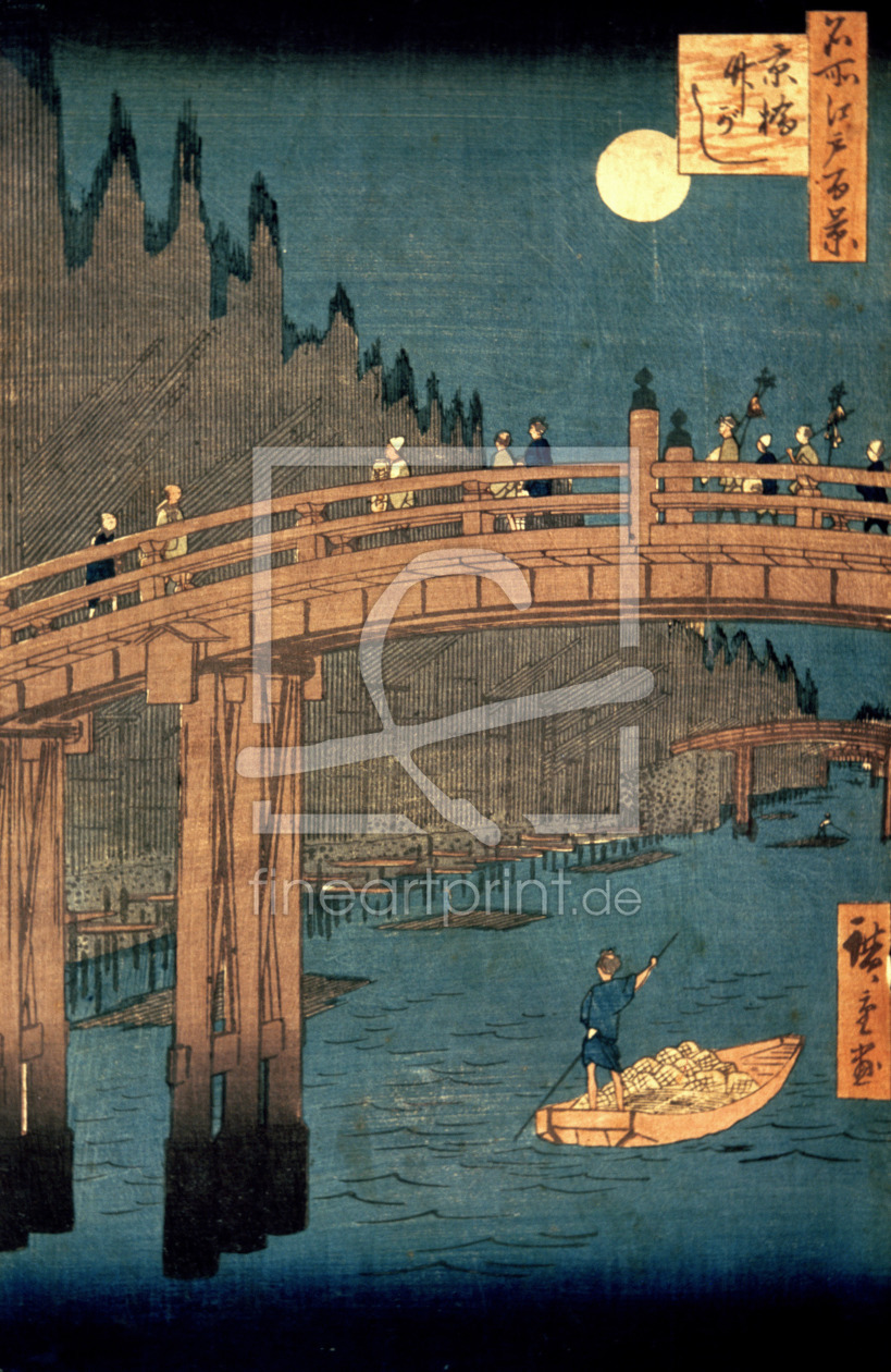 Bild-Nr.: 31002620 Kyoto bridge by moonlight, from the series '100 Views of Famous Place in Edo', p erstellt von Hiroshige, Ando