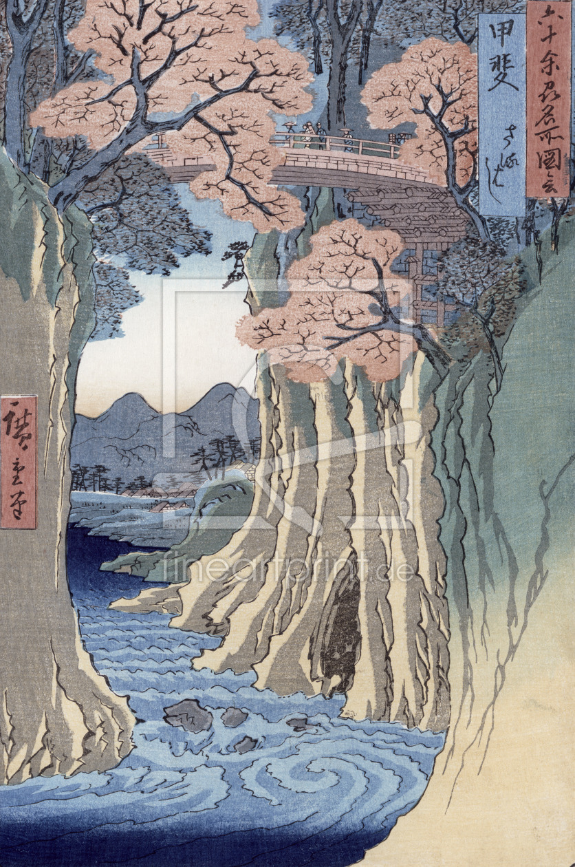 Bild-Nr.: 31002624 The monkey bridge in the Kai province, from the series 'Rokuju-yoshu Meisho zue' erstellt von Hiroshige, Ando