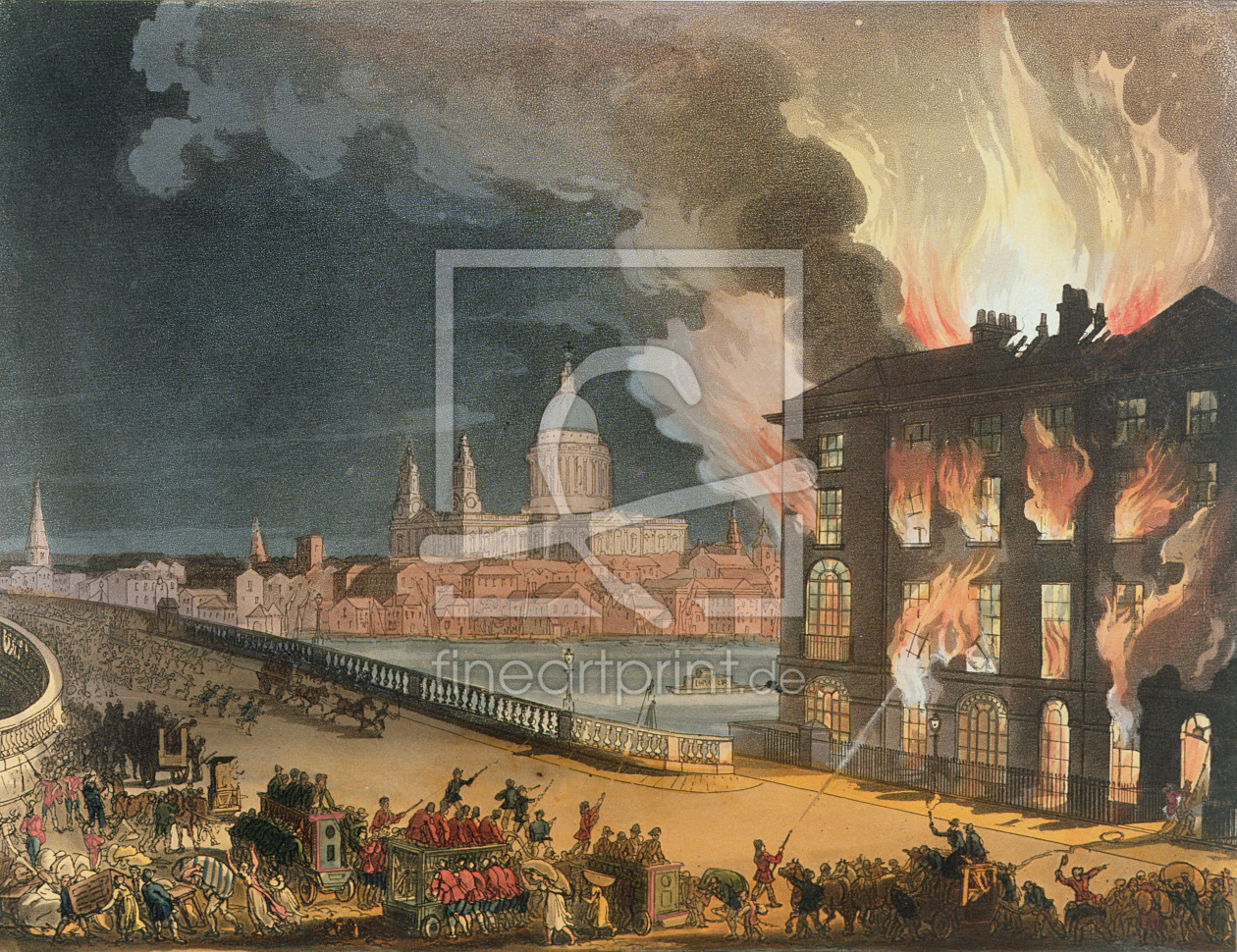 Bild-Nr.: 31002626 Fire in London, from the 'Microcosm of London, or London in Miniature, Vol. II,  erstellt von Rowlandson, Thomas