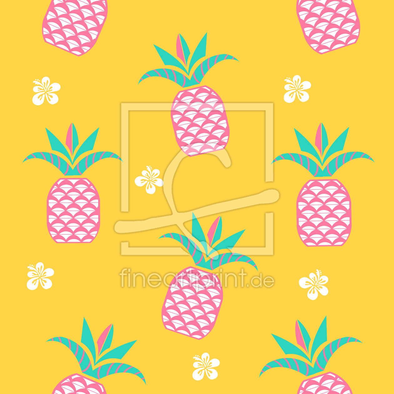 ananas am morgen als leinwand von patterndesigns co. Black Bedroom Furniture Sets. Home Design Ideas
