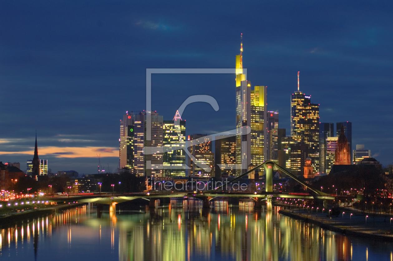 frankfurt main skyline als leinwand von fineartimages. Black Bedroom Furniture Sets. Home Design Ideas