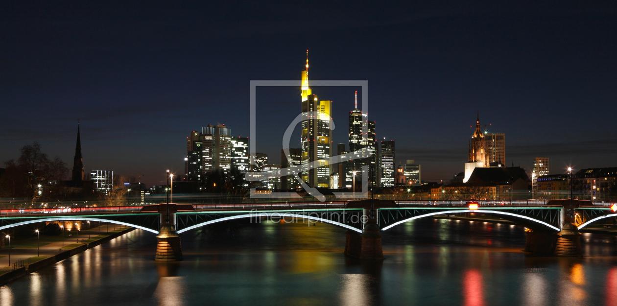 skyline frankfurt panorama als leinwand von dbphotog. Black Bedroom Furniture Sets. Home Design Ideas