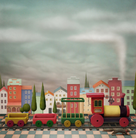 Imaginary toy  train  and the city/10155381