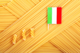 uncooked spaghetti with an Italian flag /10484702