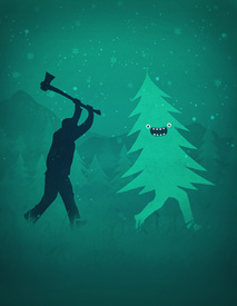 Bild-Nr: 11624721 Funny Cartoon Christmas tree is chased by Lumberjack  Run Forrest, Run! Erstellt von: badbugs-art
