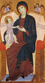 Bild-Nr: 30002120 Duccio / Enthroned Mary w.Child / Paint. Erstellt von: Duccio (di Buoninsegna)