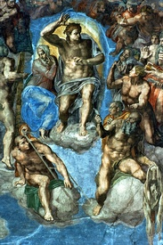 Bild-Nr: 31000130 Christ, detail from 'The Last Judgement', in the Sistine Chapel, 16th century wi Erstellt von: Buonarroti, Michelangelo (Michelangelo di Lodovico Buonarroti Simoni)