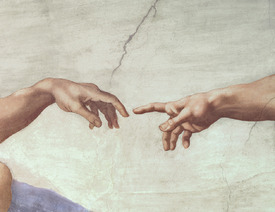 Bild-Nr: 31000132 Hands of God and Adam, detail from The Creation of Adam, from the Sistine Ceilin Erstellt von: Buonarroti, Michelangelo (Michelangelo di Lodovico Buonarroti Simoni)