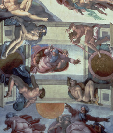 Bild-Nr: 31000139 Sistine Chapel Ceiling : The Separation of the Waters from the Earth, 1511-12 Erstellt von: Buonarroti, Michelangelo (Michelangelo di Lodovico Buonarroti Simoni)