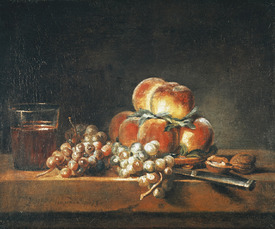 Bild-Nr: 31000186 Still Life of Peaches, Nuts, Grapes and a Glass of Wine, 1758 Erstellt von: Chardin, Jean Siméon