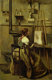 Bild-Nr: 31000266 The Studio of Corot, or Young woman seated before an Easel, 1868-70 Erstellt von: Corot, Jean Baptiste Camille