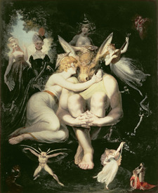 Bild-Nr: 31000435 Titania Awakes, Surrounded by Attendant Fairies, clinging rapturously to Bottom, Erstellt von: Füssli, Johann Heinrich d.J.