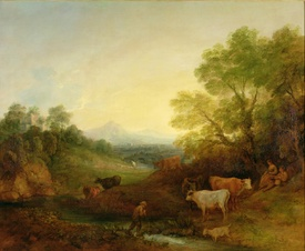 Bild-Nr: 31000452 A Landscape with Cattle and Figures by a Stream and a Distant Bridge, c.1772-4 Erstellt von: Gainsborough, Thomas