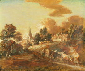 Bild-Nr: 31000454 An Imaginary Wooded Village with Drovers and Cattle, c.1771-72 Erstellt von: Gainsborough, Thomas