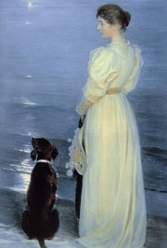 Bild-Nr: 31000738 Summer Evening at Skagen, the Artist's Wife with a Dog on the Beach, 1892 Erstellt von: Kroyer, Peter Severin