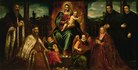 Bild-Nr: 31001243 Doge Alvise Mocenigo and Family before the Madonna and Child, c.1573 Erstellt von: Tintoretto, Jacopo