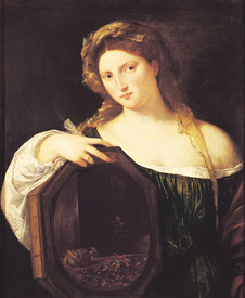 Bild-Nr: 31001379 Allegory of Vanity, or Young Woman with a Mirror, c.1515 Erstellt von: Vecellio, Tiziano