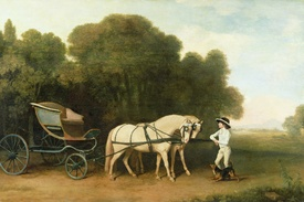 Bild-Nr: 31001437 A Phaeton with a Pair of Cream Ponies in the Charge of a Stable-Lad, c.1780-5 Erstellt von: Stubbs, George
