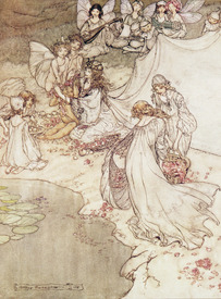Bild-Nr: 31001454 Illustration for a Fairy Tale, Fairy Queen Covering a Child with Blossom Erstellt von: Rackham, Arthur