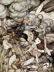 Bild-Nr: 31001455 In the Duchess's Kitchen, illustration to 'Alice's Adventures in Wonderland' by  Erstellt von: Rackham, Arthur