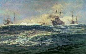 Bild-Nr: 31001670 1st Battle Squadron of Dreadnoughts Steaming down the Channel in 1911 Erstellt von: Wyllie, William Lionel