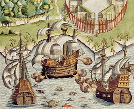 Bild-Nr: 31001681 Naval Battle between the Portuguese and French in the Seas off the Potiguaran Te Erstellt von: Bry, Theodore de